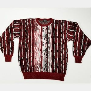Vintage Sweaters - VTG Abstract Hipster Unisex Chill Stripe Sweater